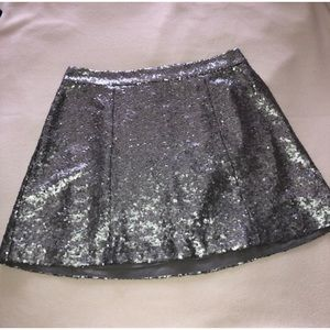 Silver sequence skirt